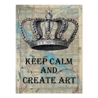 Keep Calm and Create Art Vintage Graphic Abstract Poster