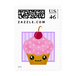 Kawaii Cherry Cupcake stamp