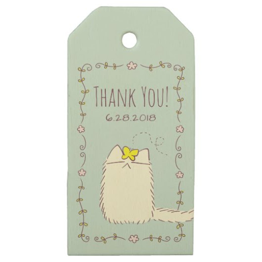 Fluffy Cat and Yellow Butterfly Custom text Wooden Gift Tags