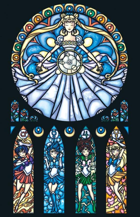 教会のステンドグラス風に描かれたヒーロー達のイラストレーション