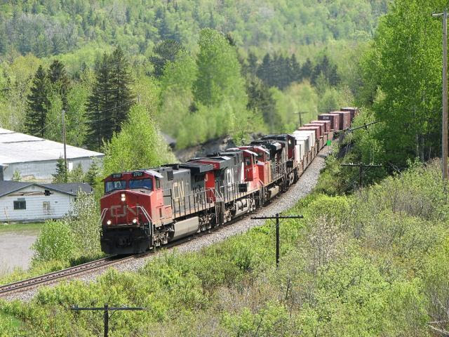 IC 2707 leading CN 121 through Lac Baker
