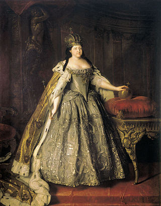 Empress Anna Ivanovna with her crown, portrait by Louis Caravaque.