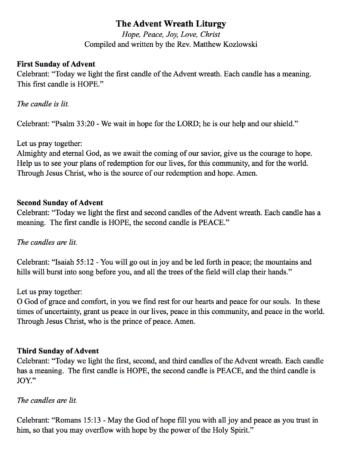 Advent Wreath Liturgy and Prayers for Church | Building Faith