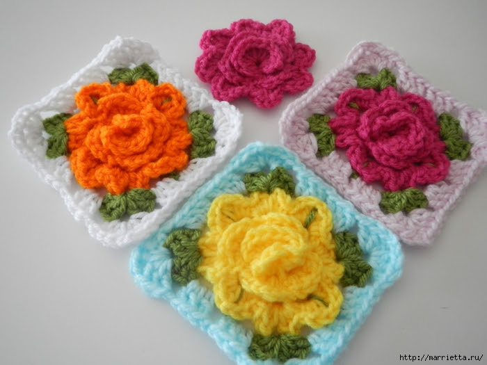 Crochet.  Tack with volume rose (11) (700x525, 232Kb)