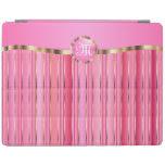 Monogram Pink & Gold Metallic Stripes iPad Cover