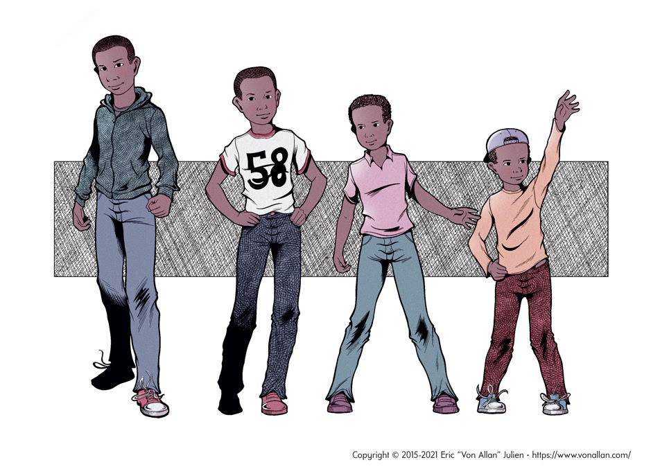 Character poses at different ages of the boy from the short story I WAS AFRAID FOR MY LIFE by Von Allan