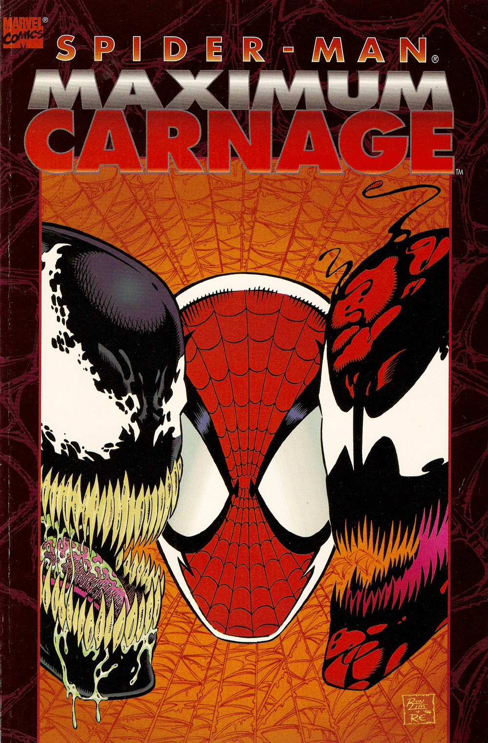 http://www.fortressofbaileytude.com/wp-content/uploads/2010/12/Spider-Man-Maximum-Carnage-TPB-1st-Printing-A.jpg