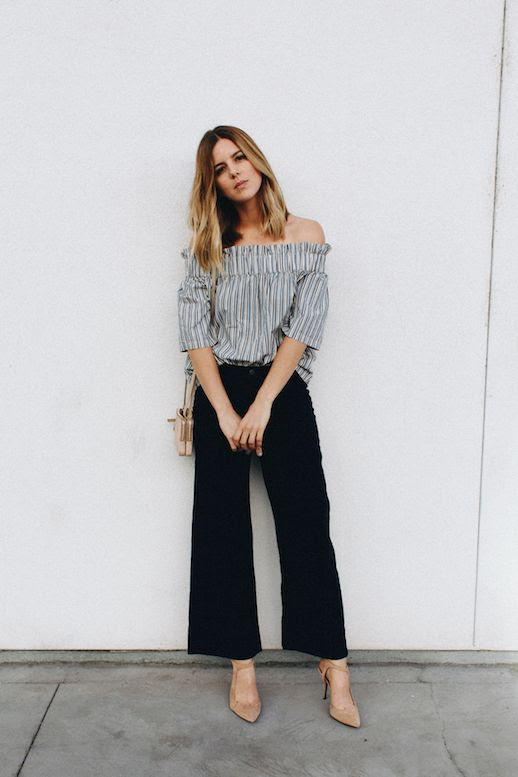 Le Fashion Blog Striped Off Shoulder Shirt Black Pants Nude Heels Via Take Aim