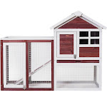 Costway Wooden Rabbit Hutch Poultry Cage