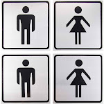 Bathroom Signs - 4-Pack Metal Restroom Aluminum Signs for Men and Women, Self-Adhesive, Ideal for Public Spaces, Coffee Shops, Restaurants, Indoors