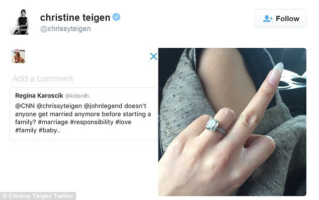 Just the facts: Chrissy Teigen gave the middle finger to a Twitter follower bashed her for having a baby outside of marriage - which isn't the case as the model IS married to John Legend and has been for two years