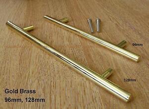 Bright Brass T Bar Style Kitchen Cabinet Door Pull Handle ...