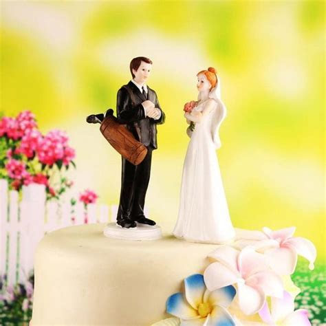 2017 Golf Fanatic Couple Wedding Cake Topper From