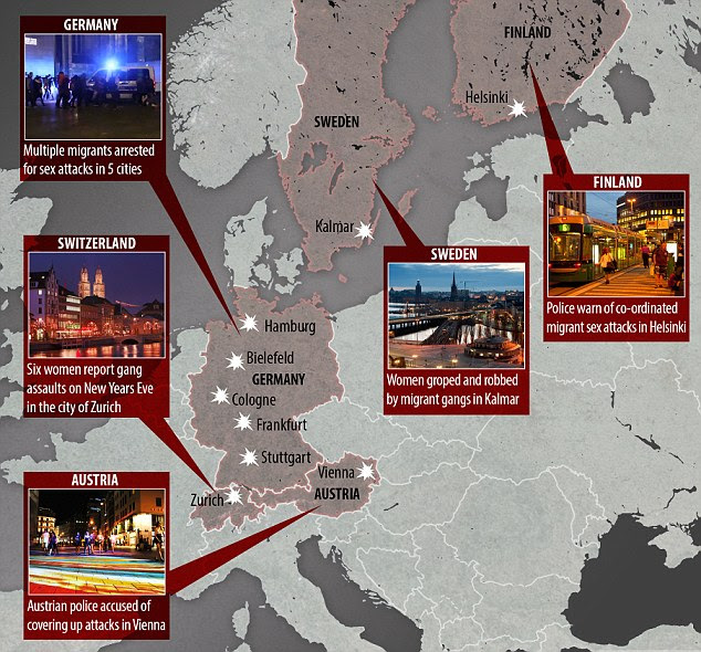 Security authorities are growing increasingly concerned by the rising number of sex attacks by gangs of migrants which appear to be spreading across Europe