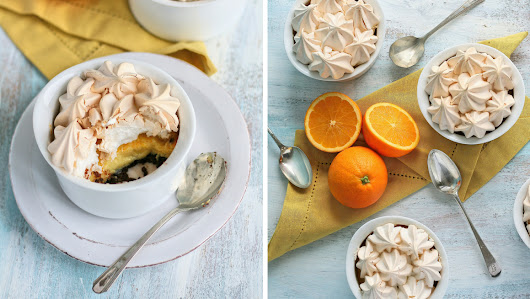 Chocolate orange meringue pies