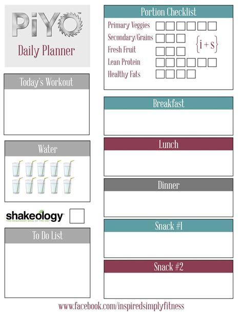 piyo meal planner printable fitness piyo diet