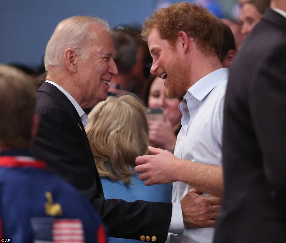 Vice President Joe Biden and Prince Harry shared a laugh together during the gold medal wheelchair rugby gold medal match