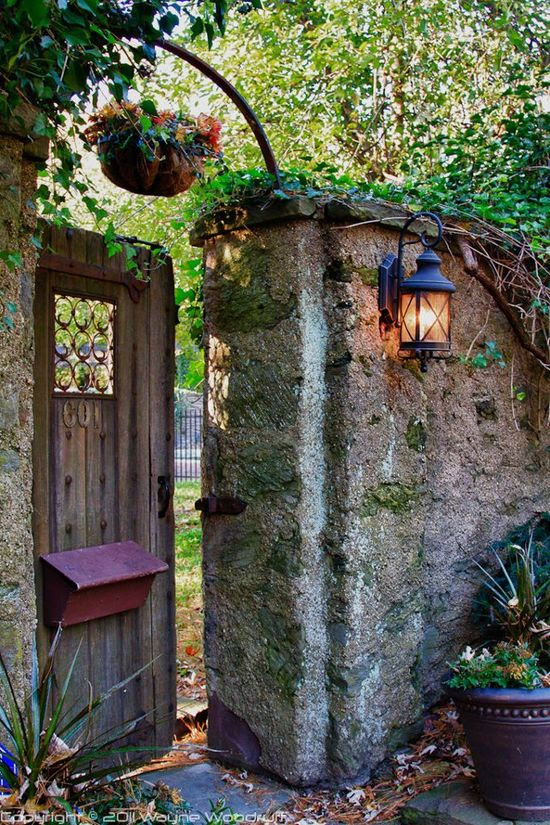 Beautiful stone garden door