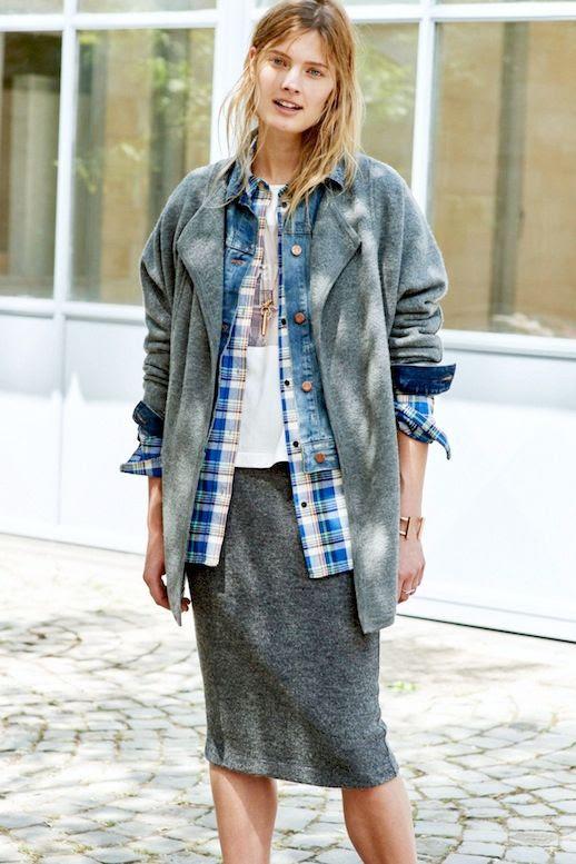 Le Fashion Blog Spring Layers Open Knit Denim Jacket Plaid Shirt Graphic Tee Grey Midi Skirt Via Madewell