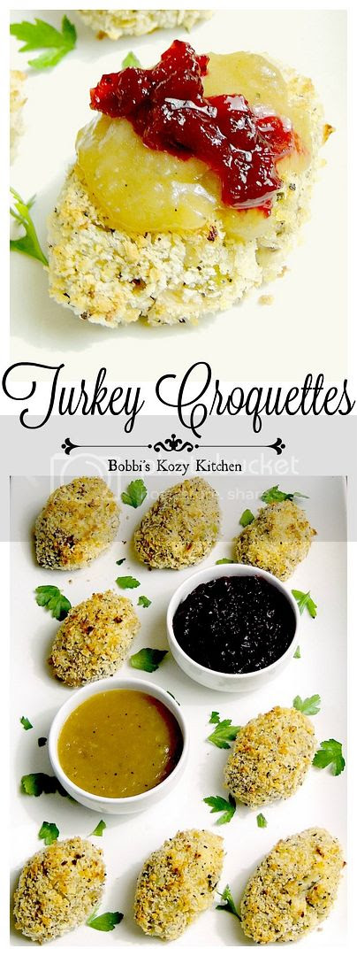 A family favorite, and fabulous way to use up those holiday leftovers. These turkey croquettes are made lighter by baking, not frying from www.bobbiskozkitchen.com