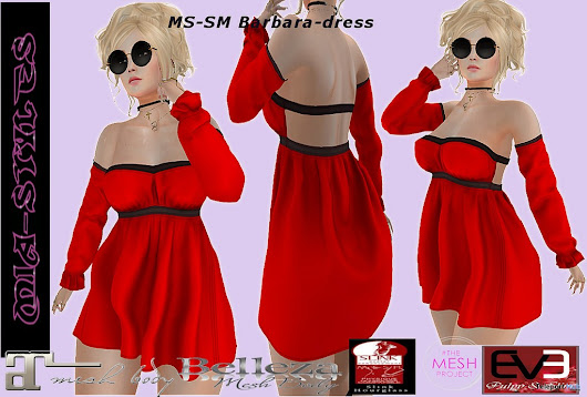 Barbara Dress Red Black July 2018 Group Gift by Mia Styles | Teleport Hub - Second Life Freebies