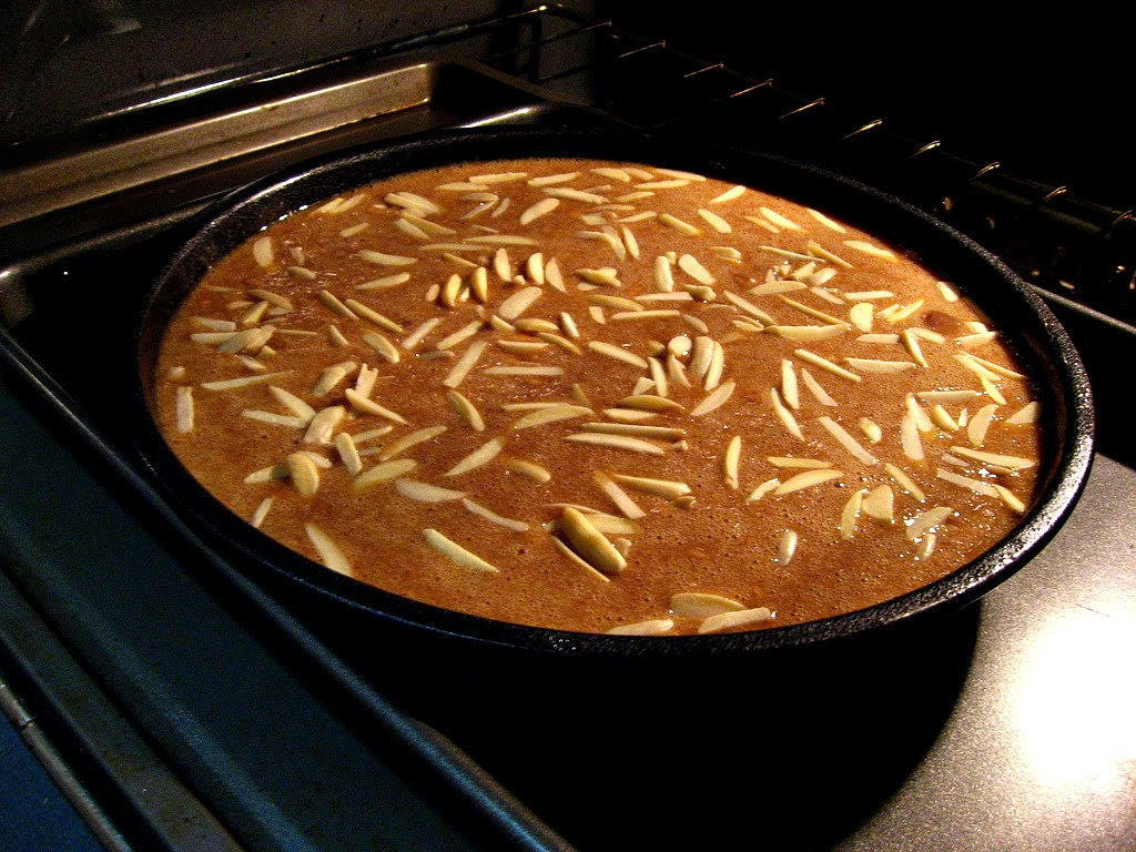 Honey Cake in the oven