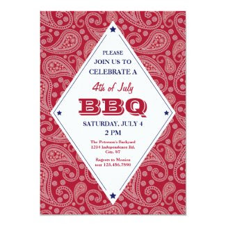 Bandana Pattern 4th of July BBQ Invitation