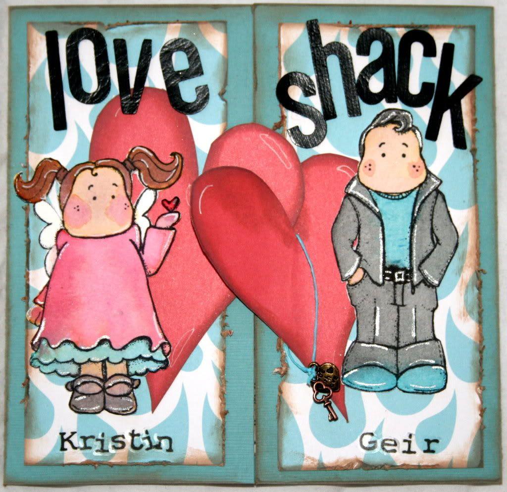 Loveshack - kort til Geir & Kristin i anledning det flotte nye huset! Hjertene fungerer som lås/lukke-mekanisme