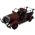 Zeckos Red Antique Style Fire Engine 15 in. Vintage Finish Metal Fire Truck Sculpture
