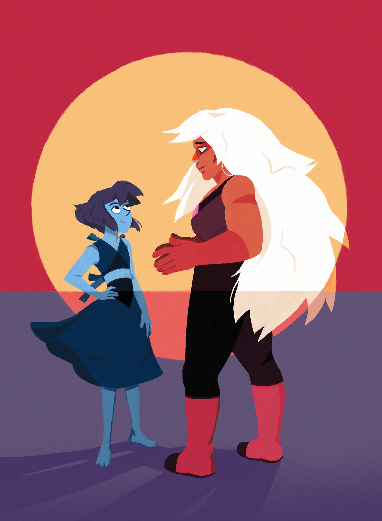 "A commission I just did of Lapis Lazuli and Jasper from Steven Universe. She wanted me to depict ""a future where the characters have made amends and they're having a moment of catharsis."" (if you're..."