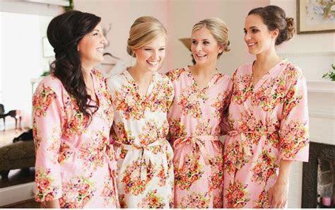 Bridesmaids robes Sets   Pink Floral Posy Kimonos