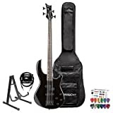 Dean Guitars E10APJ-CBK Edge 10A PJ Classic Black Electric Bass with Cable, Pick Sampler, Stand Bass Bag