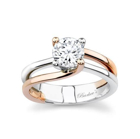 Barkev's White & Rose Gold Solitaire Engagement Ring
