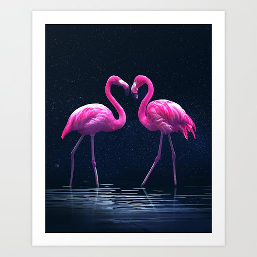 Flamingo love print by Prints&pattern - Beautiful Art And Photography