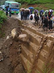 Mudslide over the road, big rock - #2
