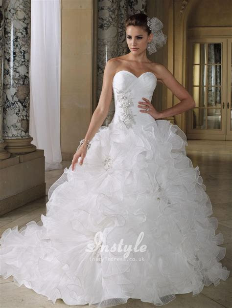 wedding dresses with bling sweetheart neckline with color