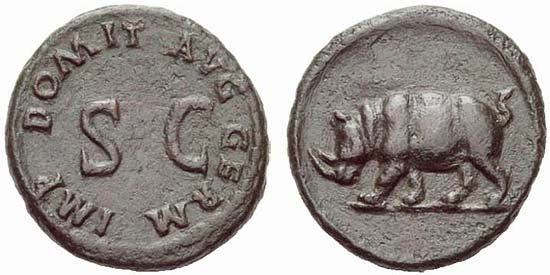 Bronze coin of Domitian with the image of a rhinoceros, A.D. 88, RIC 249-250 (424-435)