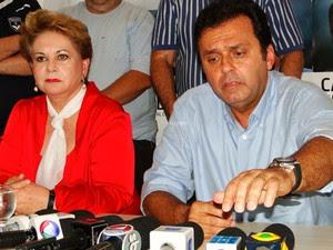 Carlos Eduardo e sua vice-prefeita, Wilma de Faria (Foto: Ricardo Araújo/G1)