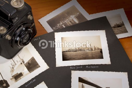 Photo Album With Old Photographs In Black And White Stock Photo