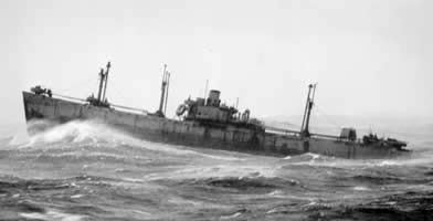 An empty Liberty ship somewhere in the storm tossed North Atlantic during World War II.