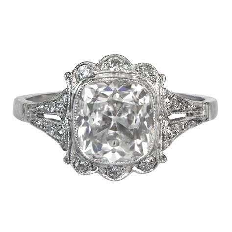 Cushion Cut Diamond Engagement Ring   Estate Diamond Jewelry