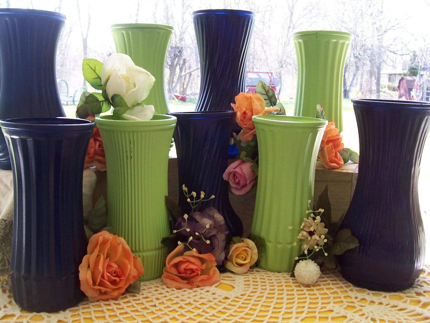 Vases Painted Table Wedding centerpiece flower 9 peacock shabby chic green blue reception decorations glass country rustic vases wedding
