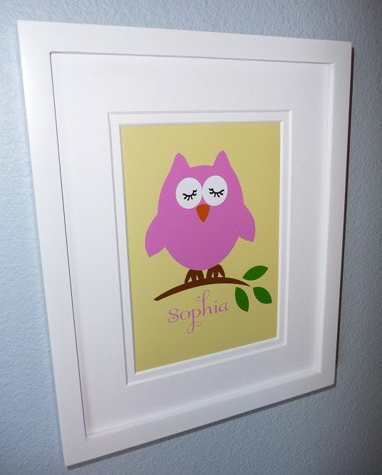 Custom Print OWL TREE BRANCH Modern Kids - Choose your size and colors
