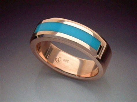 14k Rose Gold Ring with Turquoise Inlay   Metamorphosis