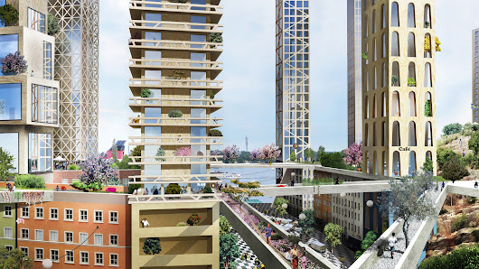 "Anders Berensson Architects proposes ""wooden skyscraper city"" for Stockholm"