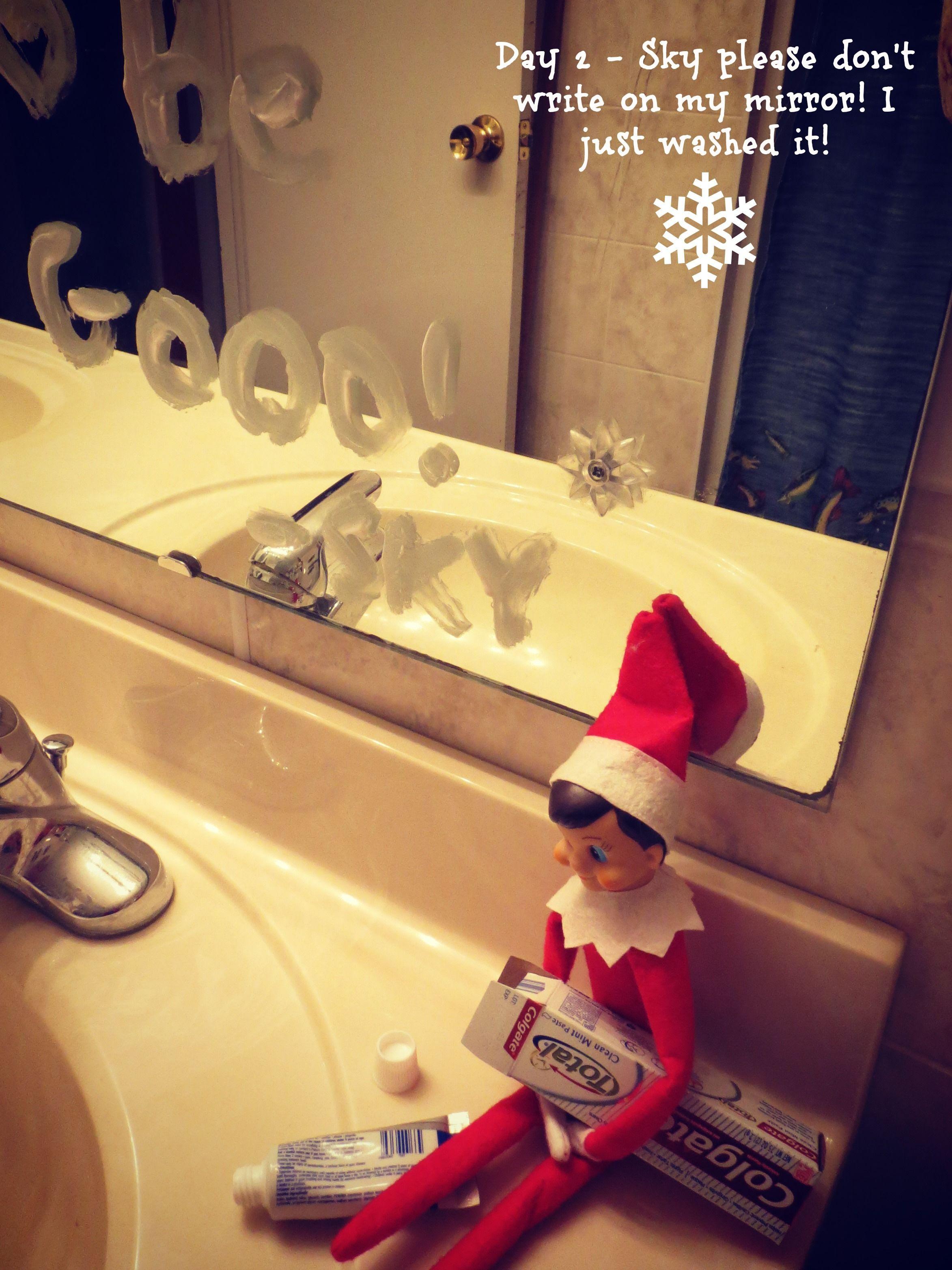 Elf  on a Shelf in the bathroom  Elf  on a shelf ideas
