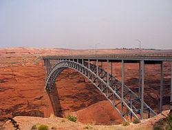 Glen Canyon Dam bridge, from wikipedia/commons. Public Domain