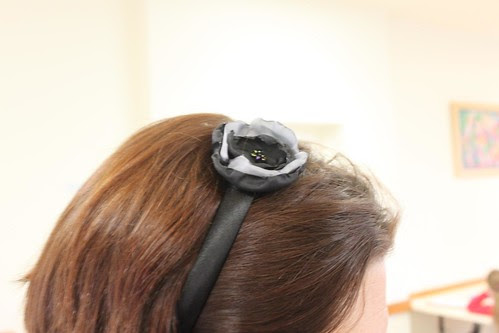 Burnt edge flower on a headband