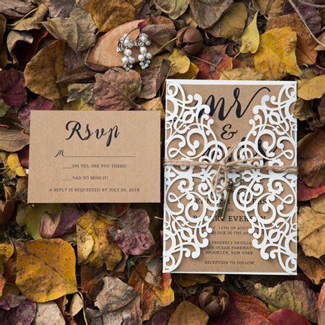 elegant rustic laser cut wedding invitation set with