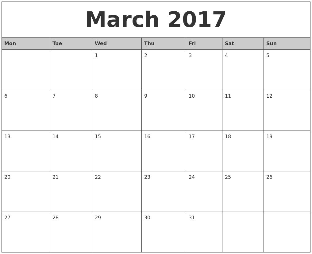 March 2017 Calendar Monday Start - Free Calendars 2017